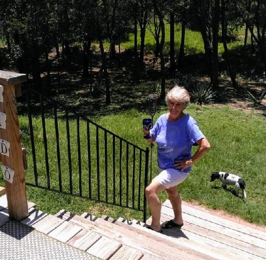 Wine Handrail with an adult woman standing