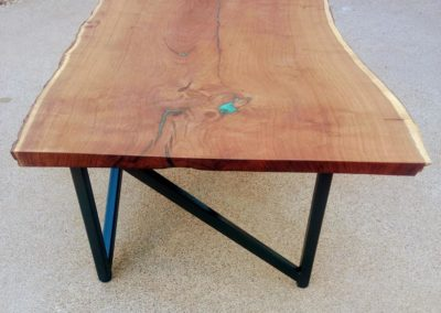 Wood Tabletop with Steel Base